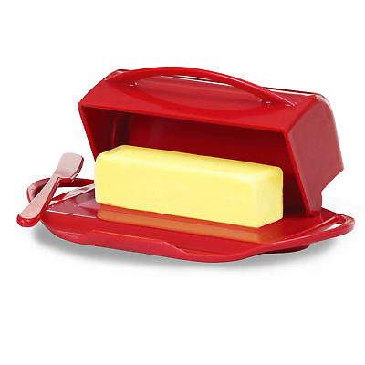 Butterie Flip-Top Butter Dish with Spreader in Red
