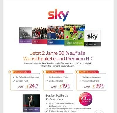 Sky Q Receiver Abo HD 50% Rabatt 24 Monate Bundesliga Cinema Sport