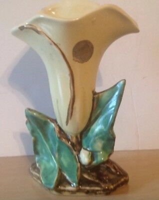 "Vintage 1940s McCoy Pottery Yellow 8"" Calla Lily w/Green Leaves Vase  Planter"