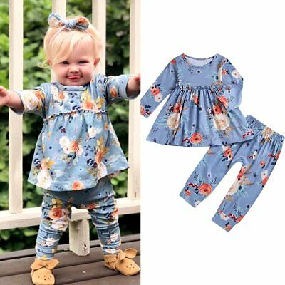 Toddler Kids Baby Girls Clothes Floral Top Dress & Long Pants Spring Outfit Set