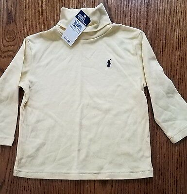 NWT POLO by RALPH LAUREN Yellow and Navy Blue l/s TURTLENECK SHIRT Size 2T / 2