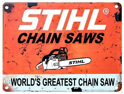 "STIHL CHAIN SAW Vintage 12"" x 18"" LARGE Aluminum Sign"
