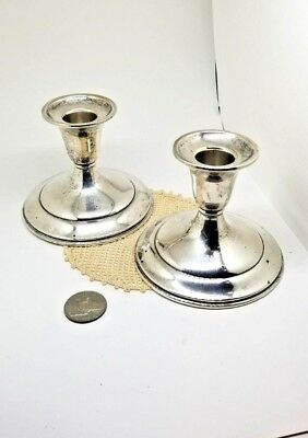 VINTAGE PAIR A.T. Gunner Mfg. Co. of MA Sterling Silver Candlesticks Holder