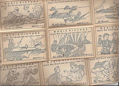 1930's Magic Pictures -- new old stock - sheet of 8 pictures -- military
