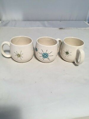 """3 As Is Vtg MID CENTURY MODERN Franciscan  STARBURST Cocoa Small CUP MUG 2.75"""""""