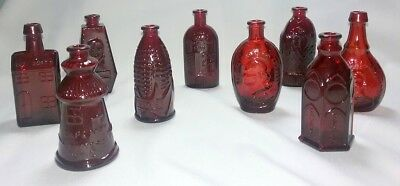 9 Miniature Wheaton Ruby Red Glass Bottles~ Poison~Bitters~ Ink & More