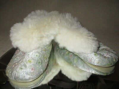 La Parisette Doll Baby Toddler Slippers Rabbit Fur Embroidered Silk Leather Sole