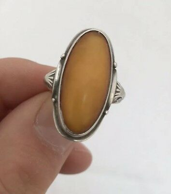 A Fine Antique Silver Butterscotch Amber Large Arts And Crafts Design Ring 925.