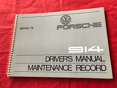 1974 Porsche 914 Drivers Owners Manual & Maintenance Record - NEW