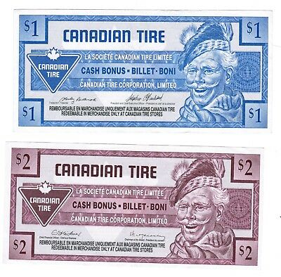 Canadian Tire Money 1992 - $1 & $2 notes