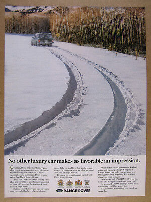 1991 Range Rover Classic deep snow tire tracks photo vintage print Ad