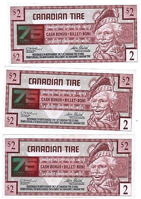 Canadian Tire Money 75th Anniversary - $2, $2, $2, $1, 10cents, 5 cents