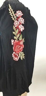 7d9e1b6a149da8 Soprano Tunic Top Size 2X Black Floral Embroidered Bell Sleeves BOHO Mystic