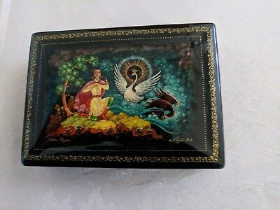 Russian Black Lacquer Box Swan King