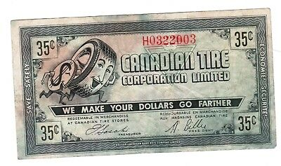 Canadian Tire Money 1962 CTC 7 - 35 cents