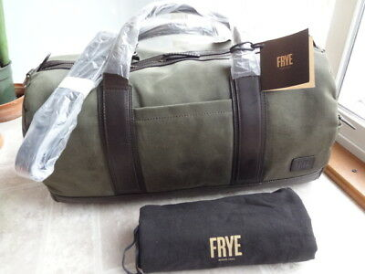 NEW WITH TAG-  428 Frye Carter Olive Waxed Canvas Leather Duffle Bag ... f63e294c55813