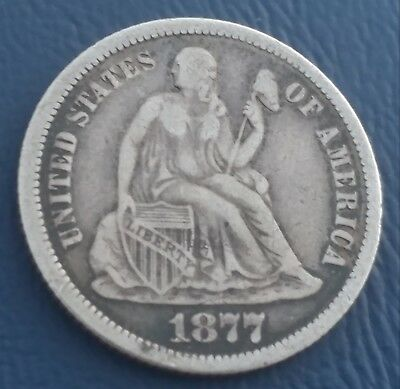 1877-CC Seated Liberty Dime. Great Details. Nice Circulated Coin