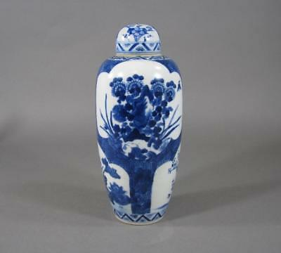 Nice Antique Chinese Blue & White Porcelain Covered Jar, Flowers, 7+ Inches