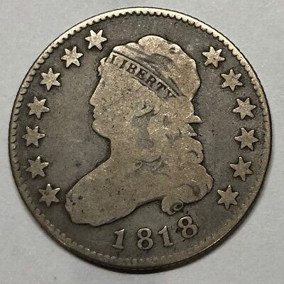 1818 Capped Bust Quarter Dollar - KEY DATE - VG/F