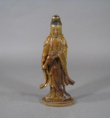 Nice Antique Chinese Soapstone Statue Of Guanyin, Kuanyin, 19THC