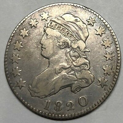 Rare 1820 Capped Bust Quarter - LARGE ZERO - VERY FINE!