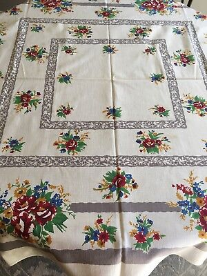"50's VTG  Red  Green Floral Print Tablecloth 53"" X 50"" Linen Mid Century"