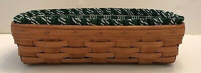 Longaberger '90 BREAD BASKET-Green Striped FABRIC LINER & Plastic Protector GUC