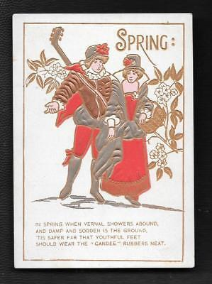 Trade Card Brownsburg Pa Peter Chasethe Candee Rubber Boots & Shoes Spring Theme