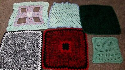 Lot 6 Vintage Big Granny Squares Crochet Yarn Doily Table Cloth Topper Repurpose