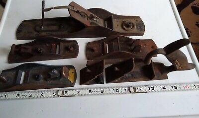 Vintage Antique 5 Incomplete Metal Hand Plane Old Wood Planers Tools  Lot Of 5