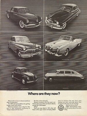 1970 VW Volkswagen Beetle Where Are They Now Hudson Packard De Soto Print Ad