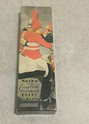 Vintage Empty Cardboard Box; Woven Men's Socks; English Soldier Queen's Guard