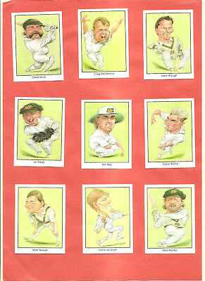 Trade Cards. Weet-Bix. 9/20 Australian Test Cricketers. Part Set.