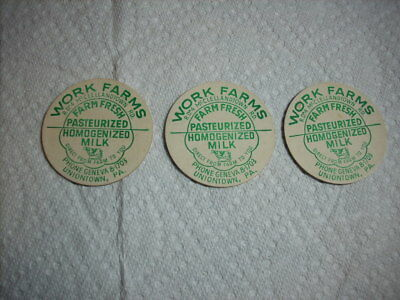 Work Farms Milk Bottle Caps From Uniontown  Pa