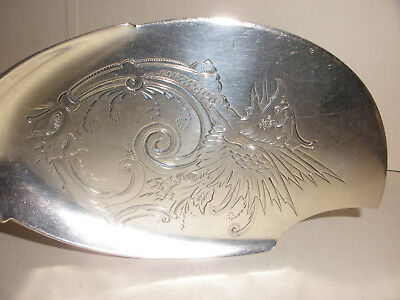 Antique Wood & Hughes 1870 Coin Silver Medallion Fish Server Griffin Decoration