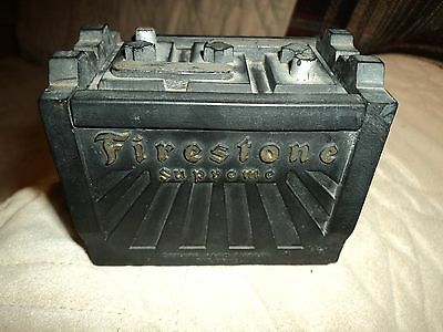 Vintage Firestone Advertising Rubber Battery Ashtray
