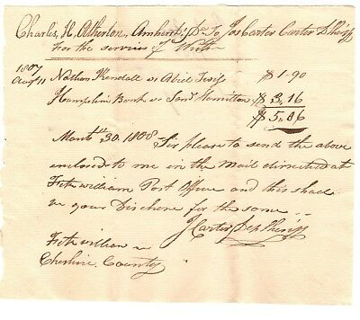 Document- 1807 Charles Atherton- Amherst, New Hampshire to Deputy Sheriff Carter