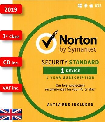 Norton Security 2019 1 Device 1 Year PC MAC Android with CD 1st Class UK VAT inc