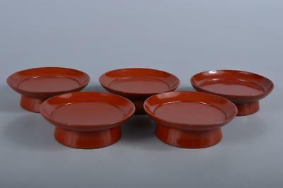 R5561: Japanese WoodenLacquer ware Shapely SERVING PLATE/dish 5pcs