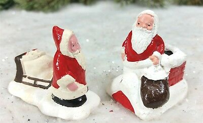 Vtg 1940s England Miniature Chalk XMAS SANTA Sled Chimney Cake Decoration Topper