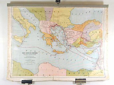 Vintage Canvas Map ROMAN EMPIRE Bible Journeys of Paul Cokesbury Press ©1910