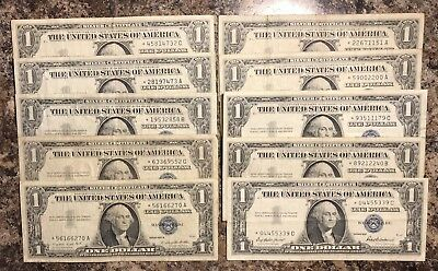 STAR NOTES!* *Lot of 10 Silver Certificate STAR Dollar 1957 Bills FREE SHIPPING