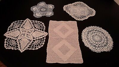 Lot OF 5 Vintage Hand Crocheted Doilies Various Patterns & Shapes - Ecru & White