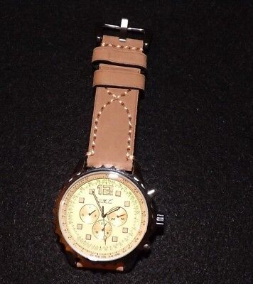 Men's 48mm Day/Date Tachymeter Dial Automatic Watch W/ Sand Colored Leather Band