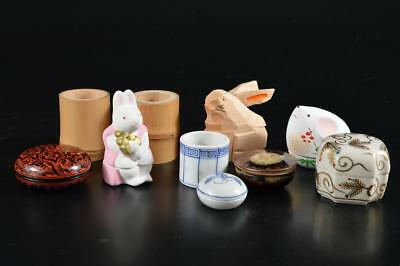 G4522: Japanese Kiyomizu-ware INCENSE CONTAINER LID REST/Stand Bundle sale