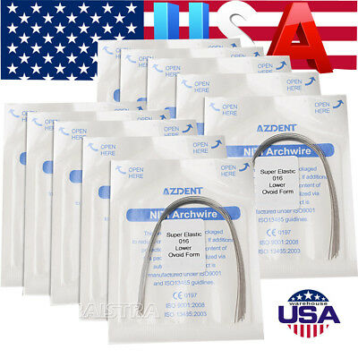 10 Bags Dental Orthodontic Arches Super Elastic Niti Round Arch Wires 016 Lower