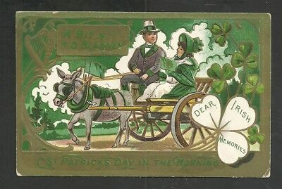 St Patrick's Day Gentleman & Pretty Lady In Carriage Embossed Vintage Postcard