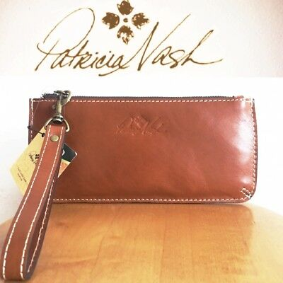 Patricia Nash St. Croce Wristlet Veg Tan Leather Travel Wallet/Small Bag $69 NWT