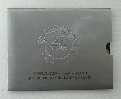 New Zealand 1992 Silver Anniversary $5 Coin Unc In Folder