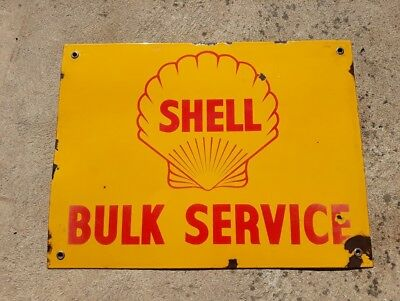 Shell Bulk Service Enamel Sign - Original
